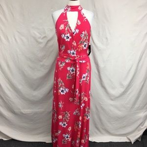 NY & CO Tropical Floral Pink Keyhole Maxi Dress